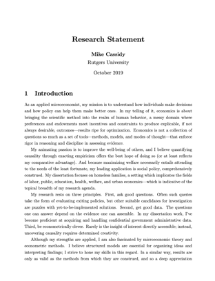 Mike's research statement